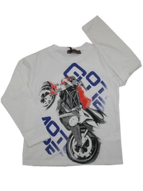 T-shirt - Boys Motorcykel Hvid